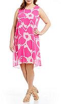 Vince Camuto Plus Sleeveless Cutout Floral Chiffon Overlay Dress