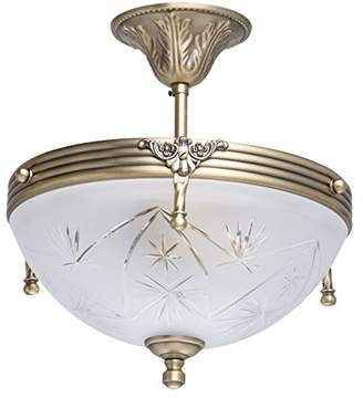 Antique Ceiling Light Brass Metal Cut Glass Traditional Bedroom Kitchen, bulbs excl, 60W 230V (Ceiling Light)