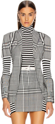 Burberry Gingham Check Tailored Jacket in Black | FWRD