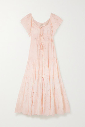 Innika Choo Alotta Gud Tiered Broderie Anglaise Cotton Maxi Dress - Pastel pink