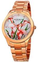 Akribos XXIV Women's Rose-Tone Case with Genuine Swarovski Crystals and White Mother-of-Pearl with Orange Flower Dial on Rose-Tone Stainless Steel Bracelet Watch AK953FRG