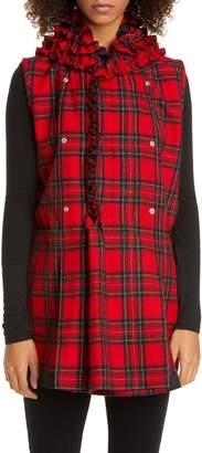 Comme des Garcons Tricot Ruffle Collar Tartan Wool Vest