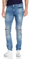 GUESS Men's Moto Zip Slim Taper Trapper Blue Jean