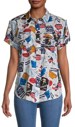 Karl Lagerfeld Paris Whimsical-Print Short-Sleeve Shirt