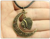 Nobrand No brand Crescent Moon Indian chief head Leather Chain Necklace, New Fashion Women Jewelry Necklace