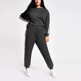 River Island Womens Plus Grey long embellished sleeve sweatshirt