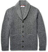 Brunello Cucinelli Shawl-collar Ribbed Mélange Cashmere Cardigan - Gray