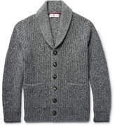 Brunello Cucinelli Shawl-Collar Ribbed Mélange Cashmere Cardigan