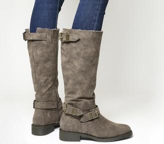 Office Koala Buckle Biker Boots Brown Fur Lined