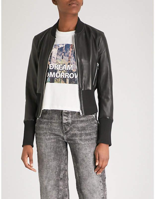 Maje Bloti faux-leather bomber jacket