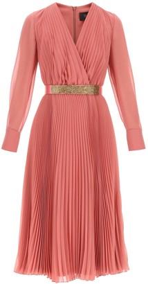 Max Mara PLEATED DRESS WITH BELT 38 Pink Silk