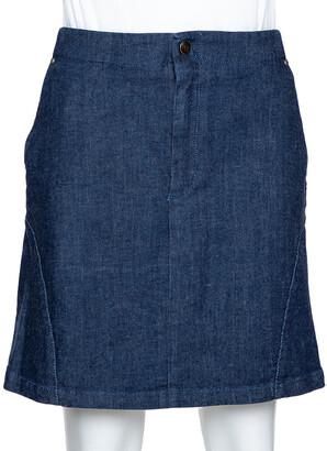 McQ Indigo Denim Zip Detail A Line Mini Skirt S