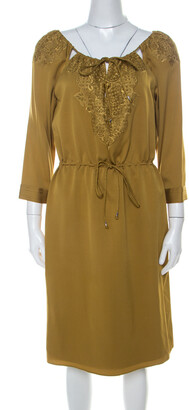 Elie Tahari Gold Silk Cut Out Detail Embroidered Rita Dress M