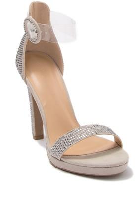 Wild Diva Lounge Ayala Embellished Clear Ankle Strap Sandal