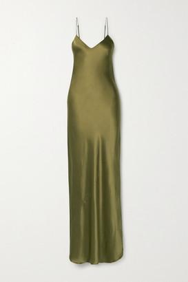 Nili Lotan Cami Silk-satin Gown - Army green