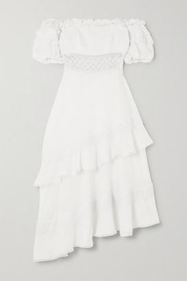 Charo Ruiz Ibiza Carmen Asymmetric Off-the-shoulder Crochet-trimmed Cotton-blend Midi Dress - White