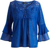 August Silk Blue Burst Sheer Ruffle-Sleeve Empire-Waist Top