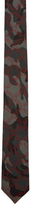 Valentino Black Garavani Silk Camo Grid Tie