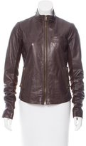 Veda Mock Neck Leather Jacket