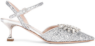 Miu Miu Crystal Leaf Pumps in Silver | FWRD