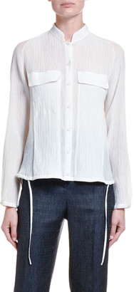 Giorgio Armani Plisse Seersucker High-Low Button Front Blouse
