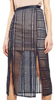 Topshop Women's Split Geo Lace Midi Skirt