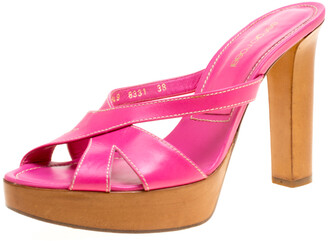 Sergio Rossi Pink Leather Peep Toe Platform Slides Size 38