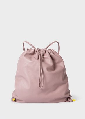 Dusky Pink Leather Drawstring Show Backpack