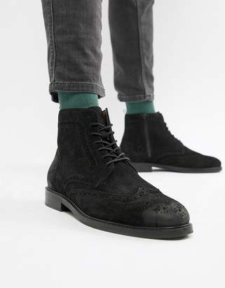Pier 1 Imports brogue boots in black suede