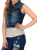 Amethyst Jeans Dark Blue Arianna Plaid-Detail Denim Vest - Plus