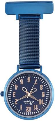 Bermuda Watch Company Annie Apple Rose Gold/Blue Mesh Nurse Fob Watch