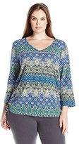 Caribbean Joe Women's Petite Best Selling Three Quarter Sleeve Geo Printed Side Ruched V Neck Top