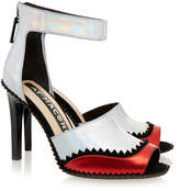 Kat Maconie Fern Silver and Red Peep Toe Sandal