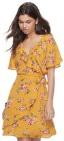 Love, Fire Juniors' Gauze Floral Faux-Wrap Dress