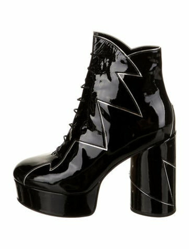 Marc Jacobs Patent Leather Lace-Up Boots Black