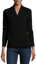 Neiman Marcus Cashmere Belted Faux-Wrap Sweater, Black