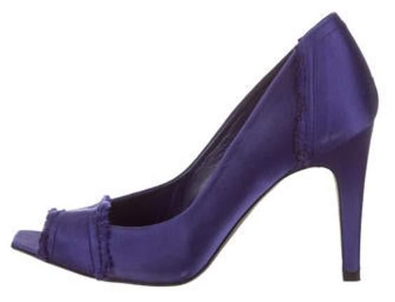 Pedro Garcia Satin Peep-Toe Pumps Purple Satin Peep-Toe Pumps
