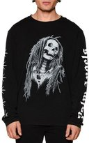 Palm Angels Long-Sleeve Skull & Stars T-Shirt, Black/White
