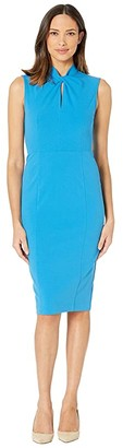Donna Morgan Sleeveless Crepe Dress with Tie Knot Front (Aqua) Women's Dress