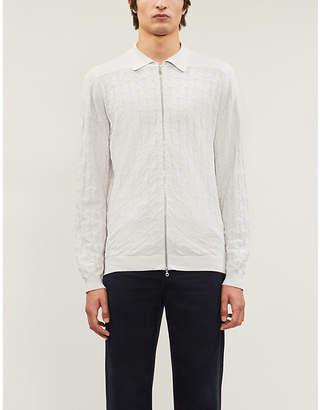 John Smedley Terrain geometric-intarsia cotton-knit jacket