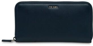 Prada Logo Plaque Zipped Wallet