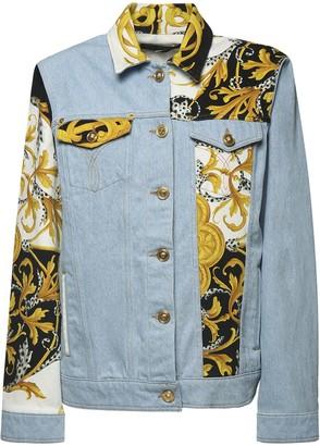 Versace Cotton Denim Jacket W/ Printed Inserts