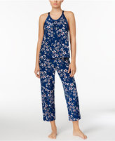 Alfani Satin-Trimmed Printed Knit Pajama Set, Created for Macy's