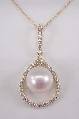"""Margolin & Co 14K Yellow Gold Diamond and Pearl Drop Pendant Necklace with Chain 18"""" June Birthstone"""