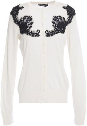 Dolce & Gabbana Leavers Lace-paneled Silk Cardigan