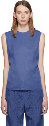 Helmut Lang Blue Viscose Open-Back Tank Top