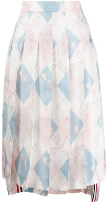 Thom Browne Dropped Back Pleated Skirt In Classic Argyle Fun Mix Animal Icon Printed Silk Twill
