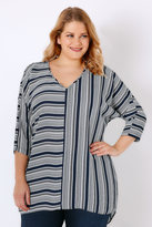 Yours Clothing White & Navy Stripe Oversized Woven Top With Wrap Back
