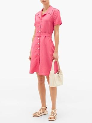 Solid & Striped Tourist Belted Linen-blend Shirtdress - Womens - Pink