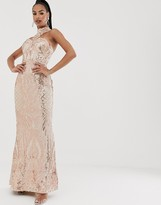 Bariano high neck sequin gown in rose gold